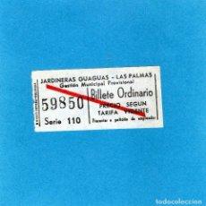 Coleccionismo Billetes de transporte: BILLETE JARDINERAS GUAGUAS DE LAS PALMAS CURIOSO. Lote 117458115