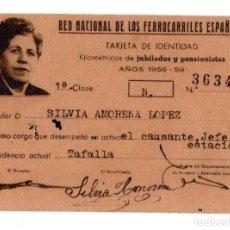 Coleccionismo Billetes de transporte: CARNET RED NACIONAL DE FERROCARRILES ESPAÑOLES KILOMÉTRICOS JUBILADOS Y PENSIONISTAS. TAFALLA - 1956. Lote 117582671
