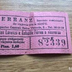 Coleccionismo Billetes de transporte: SAN LORENZO A ESTACIÓN FÉRREA. BILLETE ANTIGUO DE RENFE. Lote 118155951