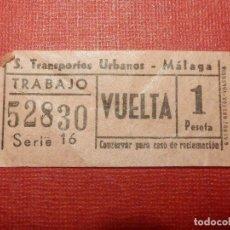 Coleccionismo Billetes de transporte: BILLETE DE TRANSPORTE - AUTOBUS - SERVICIO TRANSPORTES URBANOS MÁLAGA - TRABAJO VUELTA - 1 PESTA. Lote 118220731
