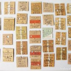 Coleccionismo Billetes de transporte: LOTE DE 32 BILLETES DE TREN ANTIGUOS PARTIDOS AL MEDIO - FERROCARRILES. Lote 118256599