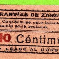 Coleccionismo Billetes de transporte: BILLETE MUY ANTIGUO DE TRANVIAS DE ZARAGOZA CAPICUA 10 CTS 1910-20 (REVERSO LAS NORMAS). Lote 118846971