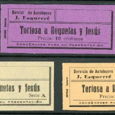 Coleccionismo Billetes de transporte: (L353) 3 BILLETES DE AUTOBUSES J. ESQUERRE // TORTOSA - ROQUETAS // AÑOS 40 // Z52. Lote 151536074