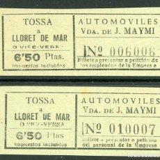 Coleccionismo Billetes de transporte: (L351) 1 BILLETE DE AUT. VDA. DE J. MAYMI // TOSSA - LLORET DE MAR // AÑOS 40 // Z40. Lote 152057494