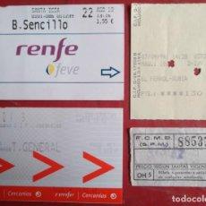 Coleccionismo Billetes de transporte: LOTE 4 BILLETES - TICKETS TREN. Lote 119479267