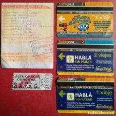 Coleccionismo Billetes de transporte: LOTE 5 BILLETES - TICKETS TRANSPORTE ARGENTINA. Lote 119479391