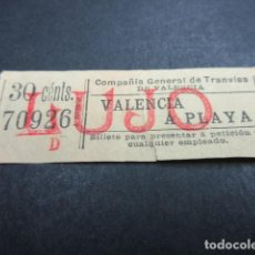 Coleccionismo Billetes de transporte: BILLETE COMPAÑIA GENERAL DE TRANVIAS DE VALENCIA VER IMPRESORES TRAYECTOS - REF: ARD-X-101. Lote 120095239
