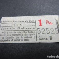 Coleccionismo Billetes de transporte: BILLETE CAPICUA CAPICUAS 52525 TRANVIAS ELECTRICOS DE VIGO IDA - REF: ARD-X-101. Lote 120098299
