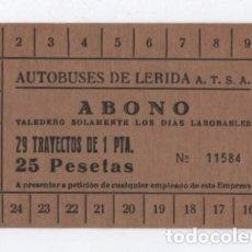 Coleccionismo Billetes de transporte: (ALB-TC-26)MUY DIFICIL BONO BUS ABONO LERIDA. Lote 120371519