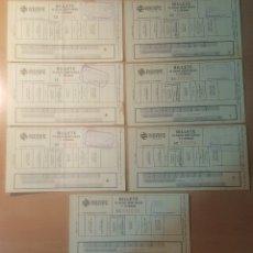 Coleccionismo Billetes de transporte: LOTE 7 BILLETES DE TREN RENFE 1987 - BILLETE PLAZAS SENTADAS Y LITERAS - CARTAGENA A MURCIA. Lote 120953539