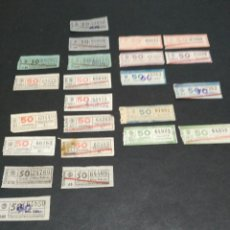 Coleccionismo Billetes de transporte: LOTE 25 BILLETES DIFERENTES TRANVIAS DE BARCELONA TB 50 CÉNTIMOS. Lote 121172183
