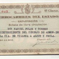 Coleccionismo Billetes de transporte: 1929.CARNET FERROCARRILES DEL ESTADO.VICEPRES. VILLENA ALCOY. Lote 121447947
