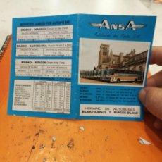 Coleccionismo Billetes de transporte: ANSA AUTOBUSES DEL NORTE S.A. HORARIO DE AUTOBUSES AÑOS 80. Lote 121497195