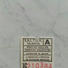 Coleccionismo Billetes de transporte: SALTUV ANTIGUO TICKET DE TRANSPORTE EN PERFECTO ESTADO SIN CUÑAR. Lote 121665066