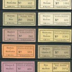 Coleccionismo Billetes de transporte: (L412) 10 BILLETES DE SERVICIO AUTOMNIBUS // MONTBRIO, RIUDECAÑAS, VILANOVA, REUS,... // U2. Lote 121700755