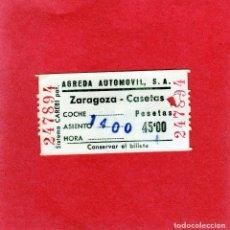 Coleccionismo Billetes de transporte: AGREDA AUTOMOVIL, S.A. ZARAGOZA - CASETAS-45 PTAS-- AÑOS 80. Lote 121732895