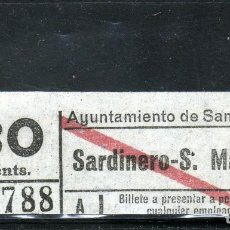 Coleccionismo Billetes de transporte: BONITO BILLETE DEL TROLEBUS DE SANTANDER - SARDINERO-S.MARTIN-30 CTS.. Lote 121744543