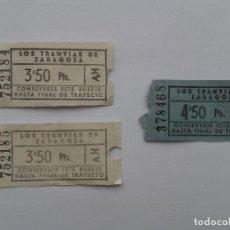 Coleccionismo Billetes de transporte: LOTE 3 BILLETES LOS TRANVIAS DE ZARAGOZA, 2 BILLETES CORRELATIVOS. Lote 121758623