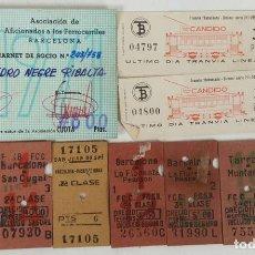 Coleccionismo Billetes de transporte: CARNET ASOCIACIÓN AFICIONADOS AL FERROCARRIL Y BILLETES. AÑOS 70/80. . Lote 121849759