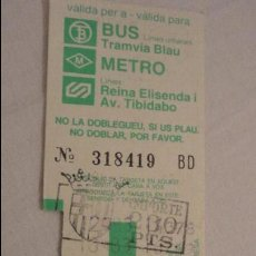 Coleccionismo Billetes de transporte: ANTIGUO BILLETE.BUS.METRO.BARCELONA 1983. Lote 121932263