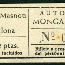Coleccionismo Billetes de transporte: BILLETES DE AUTOBUSES MONGAT - OCATA // MASNOU, BADALONA // U46. Lote 122182515