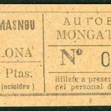 Coleccionismo Billetes de transporte: BILLETES DE AUTOBUSES MONGAT - OCATA // MASNOU, BADALONA // U46. Lote 122182583