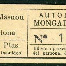 Coleccionismo Billetes de transporte: BILLETES DE AUTOBUSES MONGAT - OCATA // MASNOU, BADALONA // U46. Lote 122182623