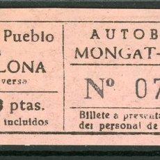 Coleccionismo Billetes de transporte: BILLETES DE AUTOBUSES MONGAT - OCATA // BADALONA // U46. Lote 122182931
