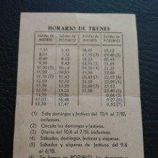 Coleccionismo Billetes de transporte: HORARIO TREN MADRID POZUELO DE ALARCON ESTADIO CARLOS RUIZ PISCINA POZUELO BAR. Lote 122808499