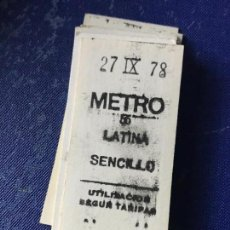 Coleccionismo Billetes de transporte: BILLETE METRO MADRID - PARADA ESTACION LATINA. Lote 123076339