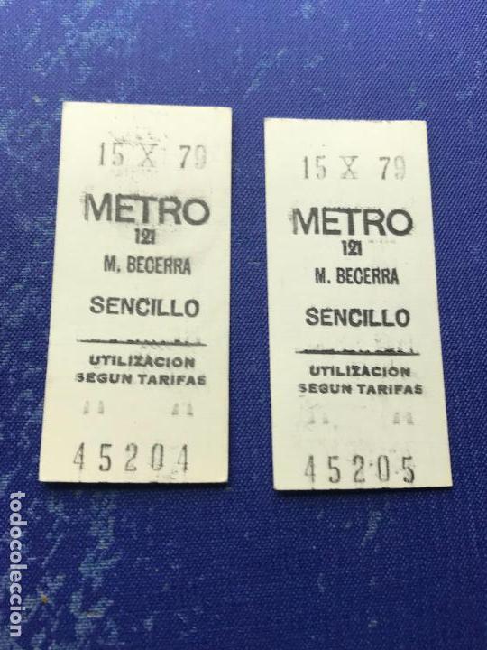 BILLETE METRO MADRID CORRELATIVOS - PARADA ESTACION BECERRA (Coleccionismo - Billetes de Transporte)
