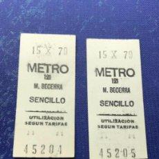 Coleccionismo Billetes de transporte: BILLETE METRO MADRID CORRELATIVOS - PARADA ESTACION BECERRA. Lote 123077299