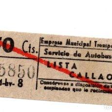 Coleccionismo Billetes de transporte: BILLETE DE AUTOBUS MADRID.- LISTA CALLAO. Lote 123388211