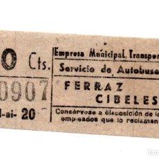 Coleccionismo Billetes de transporte: BILLETE DE AUTOBUS MADRID.- FERRAZ - CIBELES. Lote 123388383