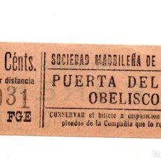 Coleccionismo Billetes de transporte: BILLETE TRANVÍAS MADRID.- PUERTA DEL SOL. OBELISCO. PROPAGANDA AL DORSO. LEBRERO. PEDRO DOMECO JEREZ. Lote 123389531