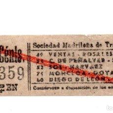 Coleccionismo Billetes de transporte: BILLETE TRANVÍAS DE MADRID.- VENTAS - ROSALES. C. DE PEÑALVER - SOL. MONCLOA - GOYA. D. DE LEÓN -SOL. Lote 123390079