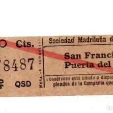 Coleccionismo Billetes de transporte: BILLETE TRANVÍAS DE MADRID.- SAN FRANCISCO - PUERTA DEL SOL.. Lote 123390195