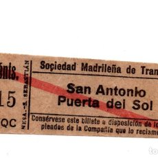 Coleccionismo Billetes de transporte: BILLETE TRANVÍAS DE MADRID.- SAN ANTONIO - PUERTA DEL SOL.. Lote 123390287