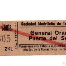 Coleccionismo Billetes de transporte: BILLETE TRANVÍAS DE MADRID.- GENERAL ORAA - PUERTA DEL SOL.. Lote 123390307
