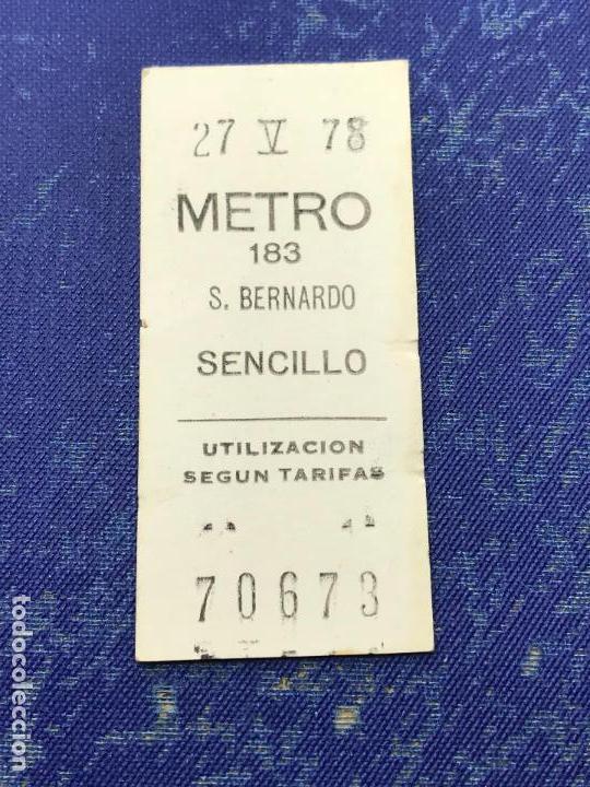 BILLETE METRO MADRID - PARADA ESTACION BERNARDO (Coleccionismo - Billetes de Transporte)