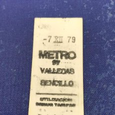 Coleccionismo Billetes de transporte: BILLETE METRO MADRID - PARADA ESTACION VALLECAS. Lote 123864683