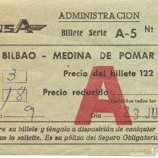 Coleccionismo Billetes de transporte: BILLETE DE TRANSPORTE, ANSA, LINEA AUTOBUSES, DE BILBAO A MEDINA DE POMAR, 1976. Lote 124134611