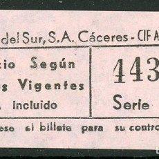 Coleccionismo Billetes de transporte: BILLETE DE AUTOBUSES DE CACERES // AÑOS 80. Lote 124185391