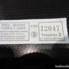 Coleccionismo Billetes de transporte: ANTIGUO BILLETE TRANVIAS TRANSPORTES BARCELONA LOGO TB AZUL TRAYECTO 2 . Lote 124664911