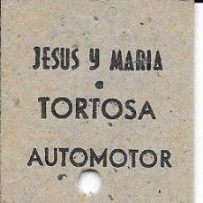 Coleccionismo Billetes de transporte: BILLETE FERROCARRIL EDMONDSON DEL FERROCARRIL DE LA CAVA DE JESUS Y MARIA A TORTOSA. Lote 125057891