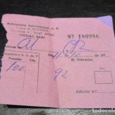 Coleccionismo Billetes de transporte: ANTIGUO BILLETE AUTOMNIBUS INTERURBANOS LINEA DE DAIMIEL CIUDAD REAL 197X . Lote 125855391