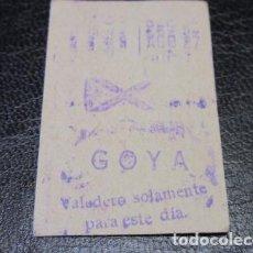 Coleccionismo Billetes de transporte: BILLETE METRO DE MADRID PARADA GOYA . Lote 125856371