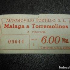 Coleccionismo Billetes de transporte: BILLETE DE TRANVIA MALAGA A TORREMOLINOS - AUTOMOVILES PORTILLO - SERIE 5. Lote 125951575