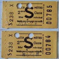 Coleccionismo Billetes de transporte: 3 BILLETES - BILLETS - TICKETS R.A.T.P. METRO, S, NUMERACIÓN CONSECUTIVA. FRANCIA, PARÍS. KIRAVI.. Lote 126059835