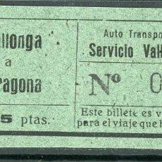 Coleccionismo Billetes de transporte: BILLETE DE AUTO TRANSPORTE VILALLONGA // VILALLONGA A TARRAGONA // V45. Lote 126154295